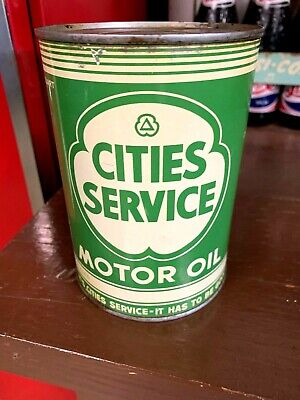 Vintage 1950'S Cities Service One Quart Qt Motor Oil Metal Can Full Nos Unopened