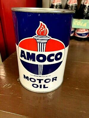 VINTAGE 1960's AMOCO MOTOR OIL ONE QUART QT CAN EMPTY METAL AMERICAN GAS OIL CO