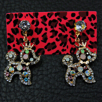 Betsey Johnson Fashion women Alloy Rhinestone Crown Dog drop earring Jewelry