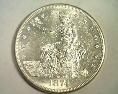 1874-S Trade Dollar Uncirculated Unc. Nice Original Coin Bobs Coins Fast Ship