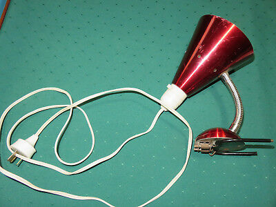 Anodised clip on bed lamp - red