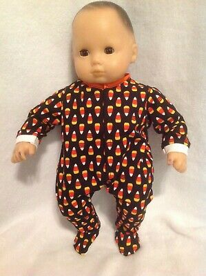 Bitty Baby Glow in Dark Halloween Candy Corn sleeper pajamas 15 doll clothes fit
