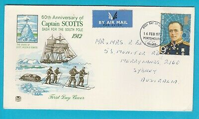 UK 60th Anniv Capt. Scott's dash for South Pole 1972 FDC Posted to Australia