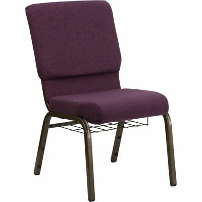 HERCULES Series 18.5''W Plum Fabric Church Chair with 4.25'' Thick Seat,