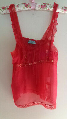 ALANNAH HILL raspberry pink silk and lace sequin camisole top size 8
