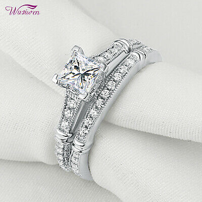 Wedding Engagement Ring Set For Women 1ct Princess Cz 925 Sterling Silver Size 8