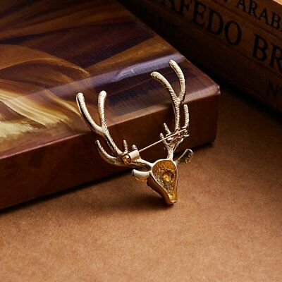Vintage Crystal Gold Deer Head Elk Brooch Pin Fashion Women Costum Jewelry Gifts