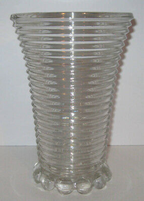 "Anchor Hocking Manhattan Clear Crystal 8"" Footed Vase Ribbed Depression Glass"