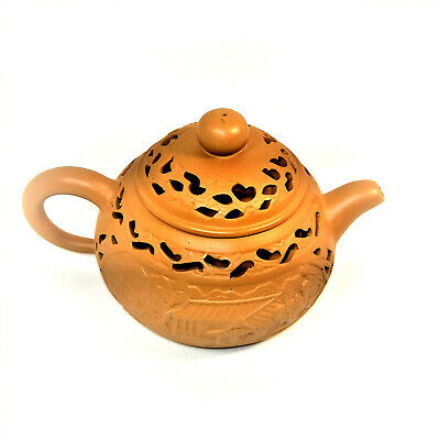 Chinese Yixing Zisha Teapot Exquisite Handmade Carved Outer Shell Signed Bottom