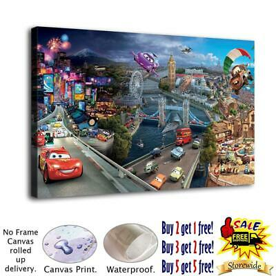 "12""x20""HD Canvas Print Painting Disney CarsHome Decor Wall Art Pictures Posters"