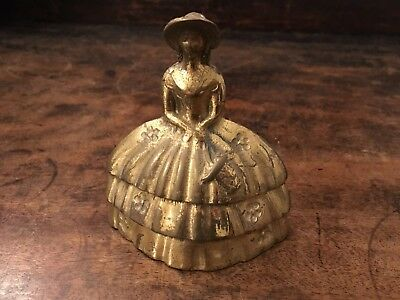 Antique Solid Brass Victorian/Georgian/Elizabethan Lady bell W9 x L10 cm Heavy