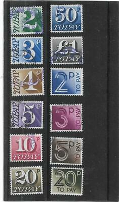 "British Stamps Decimal Postage Due,""TO PAY"" Stamps All Different Used Collection"