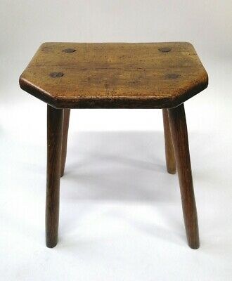 Antique 18th Century Ash & Elm Stool Cutlers Country Georgian