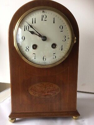 Antique French Edwardian Mahogany Domed Inlaid Bracket / Mantel Clock Working