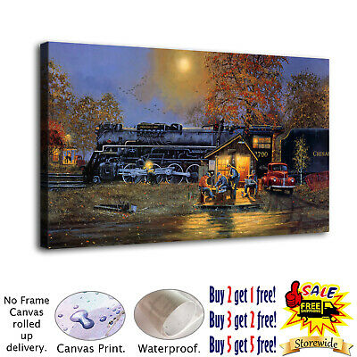 "12""x20""HD Canvas Print Painting Train Passing Home Decor Wall Art Pictures Photo"