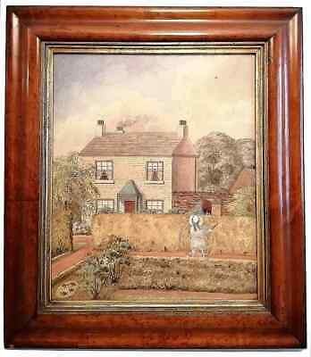 Antique Victorian Naive Watercolour Painting House & Child Maple Frame Folk Art