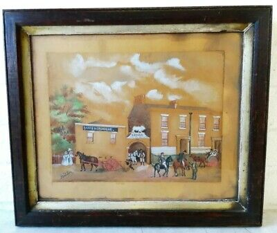 Antique Victorian Folk Art Watercolour Painting ''Rands Brewery'' Architecture