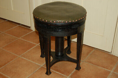 ARTS & crafts adjustable piano stool,ebonised,oak,vintage,retro,antique