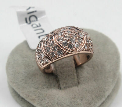 Brand New Crystal &Simulated Diamo 18K Rose Gold Filled Ring Size:6-7