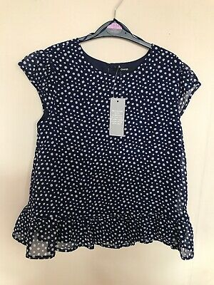 GIRLS GEORGE NAVY BLUE SPOTTY TOP AGE 13 - 14 GREAT FOR SUMMER Inc FREE P&P