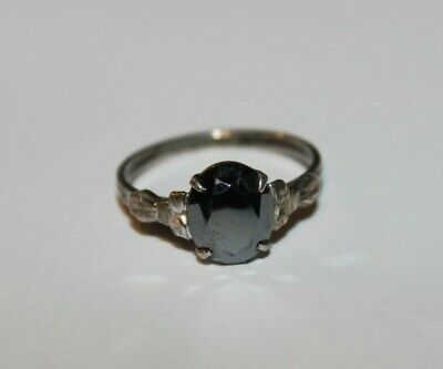 Beautiful Sterling Silver 925 Black colored Stone Ring Size 8.5