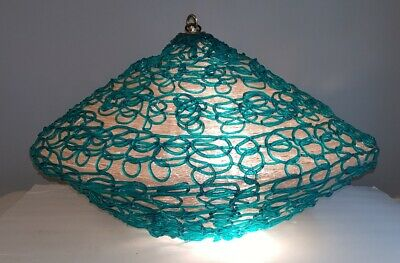 Mid Century ~ Lucite Spaghetti FLYING SAUCER HANGING DOME PENDANT LAMP LARGE!