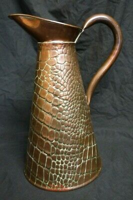 Antique Arts & Crafts - Marked Joseph Sankey - Copper 4 Pint Jug Crocodile Skin