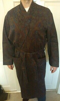 VINTAGE - Stephen's Brothers Paisley Dressing Gown Smoking Jacket Robe - Size L
