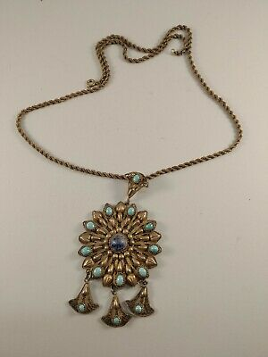 antique egyptian silver gilt turquoise ottoman necklace islamic turquoise
