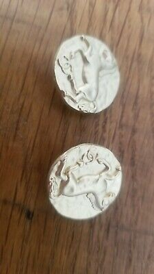 Lot of 2 Vintage Chanel round CC Logo gold tone  horses  Buttons 25 mm