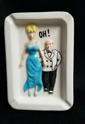 Vintage 1950s Glazed Ceramic Double Sided Risque Naughty Humor Lady Ashtray