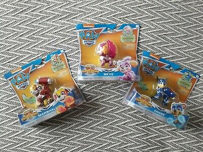Paw Patrol - Mighty Pups Super Paws. Figures Bundle. Skye Marshall Chase. NEW.