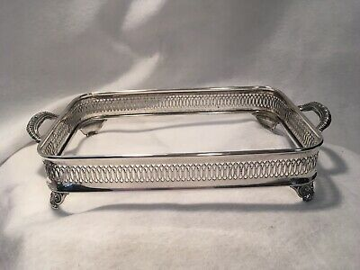 Silver Plate Pierced Casserole Holder Footed with Handles