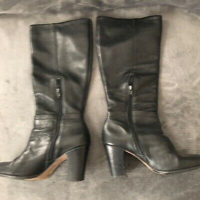 San Marina Black leather and long boots Size 40 Ladies Women Girls