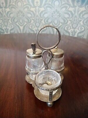 Vintage Silver Plated Epns Cruet Set Fully Marked  Salt Pepper Mustard & Spoon