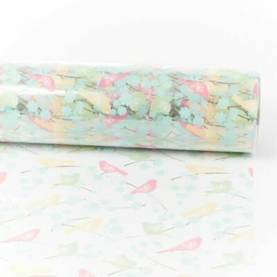 100m AVIARY BIRDS Cellophane Clear Plain 80cm Roll Hamper Flower Gift Film