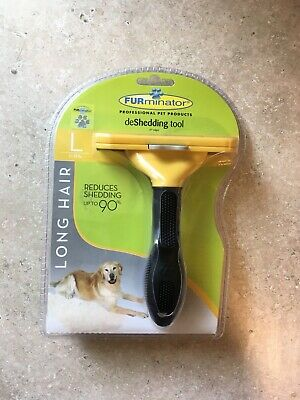 FURminator deShedding Tool Brush for Large Dog 51-90 lbs with Long Hair Yellow