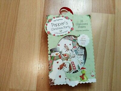 Trimcraft  Pepper's Christmas Party glitter effect 36 chipboard shapes retired
