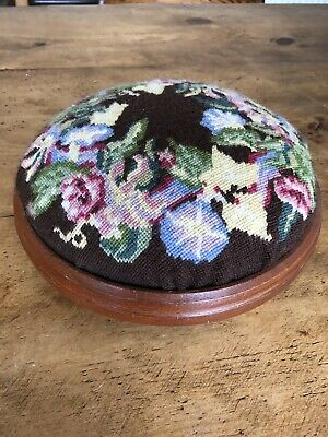 Antique Small Round Tapestry Upholstered Solid Wood Footstool