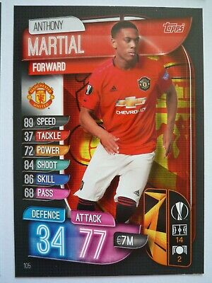 Topps Match Attax 2019/20 Manchester United Martial Base Card Comb P&P