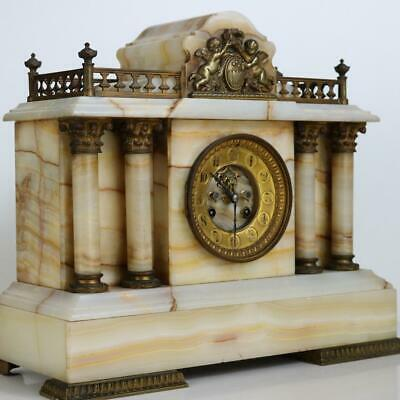 RARE QUARTER CHIMING ANTIQUE FRENCH TEMPLE MANTEL CLOCK architectural marble