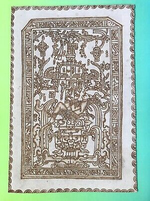Leather Painting of Mayan King Pakal Carved Sarcophagus Tomb Lid Mexico Folk Art
