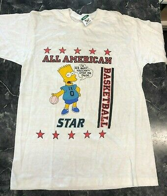 "Vintage T Shirt - Retro Bart ""I'm Air Bart You Can't Stop me Dude"" L NOS Simpson"