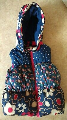Girls NEXT Blue Padded/Hooded Age 2-3 Years Floral Gilet/Bodywarmer coat/jacket
