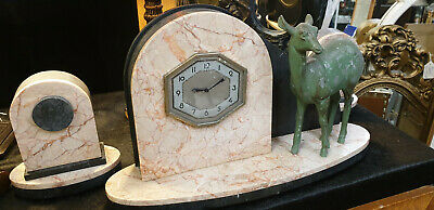 Art Deco Onyx and Marble Clock with Garnitures, Unique Design