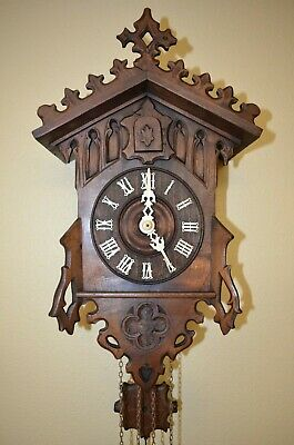 ANTIQUE GERMAN BLACK FOREST JOHANN BAPTIST BEHA CUCKOO CLOCK  late 1800'S
