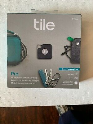 Tile Pro Item Tracker Bluetooth GPS Locator Replaceable Battery 2-PACK BLACK