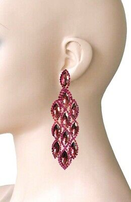 "4"" Long Fuchsia Purple & Plum Rhinestones Statement Earrings Pageant Drag Queen"