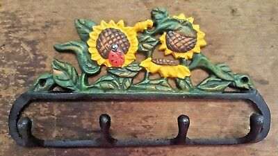 SUNFLOWER 4 HOOK BATHROOM or KITCHEN Towel Hanger farmhouse country ladybug iron