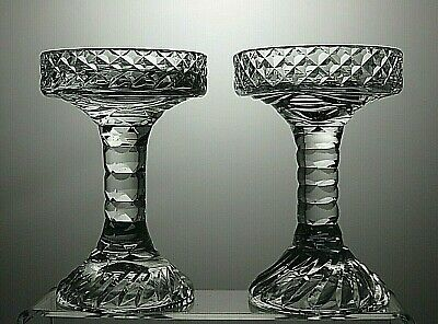 Cut Glass Derwent Crystal Candle Holders Set Of 2